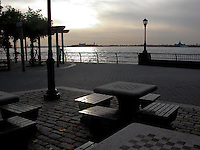Chess tables in the open air. Images of New York 2004, New York,U.S.A