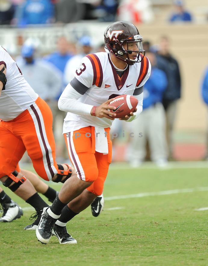 LOGAN THOMAS, of the Virginia Tech Hokies in action during Virginia Tech's game against the Duke Blue Devils on October 29, 2011 at Wallace Wade Stadium in Durham, NC. Virginia Tech beat Duke 14-10.