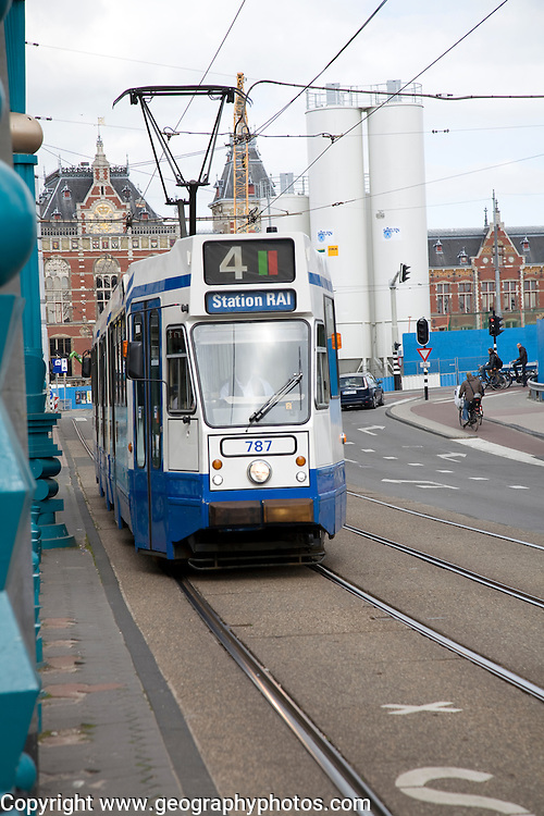 Tram to station, Amsterdam, Netherlands