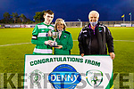 Marie Falvey presents the Jimmy Falvey Memorial Cup to her grandson Dylan, captain of Killarney Celtic with John O'Regan (Sec KDL) as the defeated Dingle Bay Rovers in the final