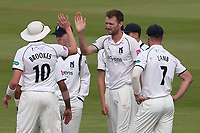 Oliver Hannon-Dalby of Warwickshire celebrates with his team mates after taking the wicket of Sam Cook during Warwickshire CCC vs Essex CCC, Specsavers County Championship Division 1 Cricket at Edgbaston Stadium on 12th September 2019