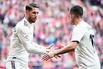Sergio Ramos and Lucas Vazquez of Real Madrid celebrating a goal during La Liga match between Atletico de Madrid and Real Madrid at Wanda Metropolitano in Madrid Spain. February 09, 2018. (ALTERPHOTOS/Borja B.Hojas)