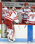 Connor Lacouvee (BU - 30), Jake Oettinger (BU - 29), Charlie McAvoy (BU - 7), Dante Fabbro (BU - 17) - The Boston University Terriers defeated the University of Massachusetts Minutemen 3-1 on Friday, February 3, 2017, at Agganis Arena in Boston, Massachusetts.The Boston University Terriers defeated the visiting University of Massachusetts Amherst Minutemen 3-1 on Friday, February 3, 2017, at Agganis Arena in Boston, MA.