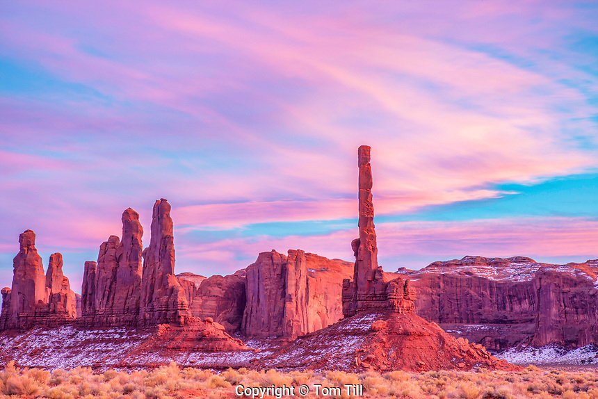 The Totem Pole at sunset, Monument Valley Tribal Park, Arizona  Navajo Reservation, thin pinnacle of De Chelly sandstone