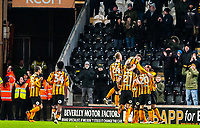 Hull City jump on /Hull City's forward Nouha Dicko (9) after putting them 1 - 0 up during the Sky Bet Championship match between Hull City and Sheff United at the KC Stadium, Kingston upon Hull, England on 23 February 2018. Photo by Stephen Buckley / PRiME Media Images.