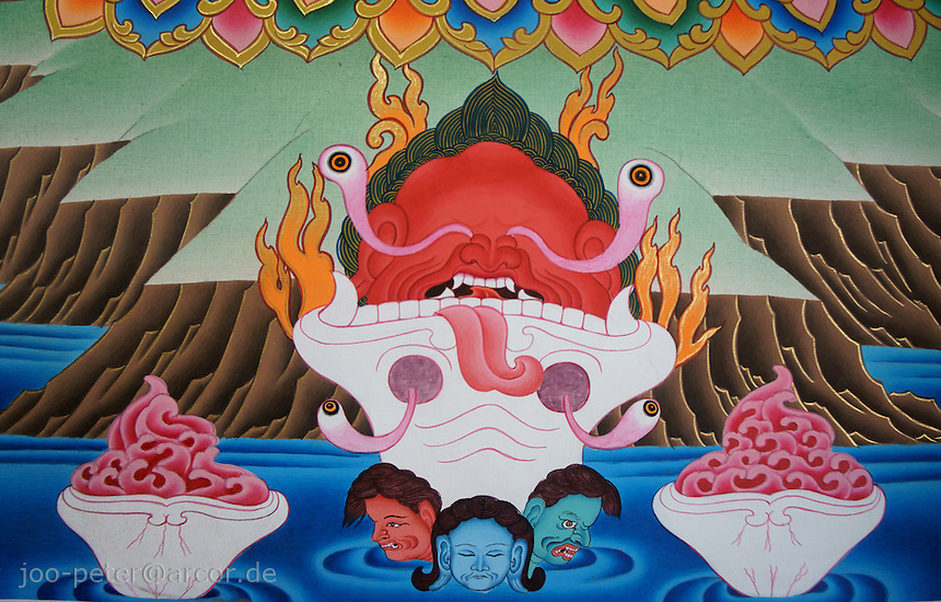 close-up of a thanka-painting of  Bhairab (fierceful tantric incarnation of Shiva) with female shakti called Bajra Yogini, Himalaya, Nepal, October 2011. Tantric buddist tradition in Nepal can be found in higher Himalaya mountai areas like Mustang,  influenced by tantric tibetan buddhist traditions. Here examples of Thanka-paintings as sold by contemporary traditional artists.
