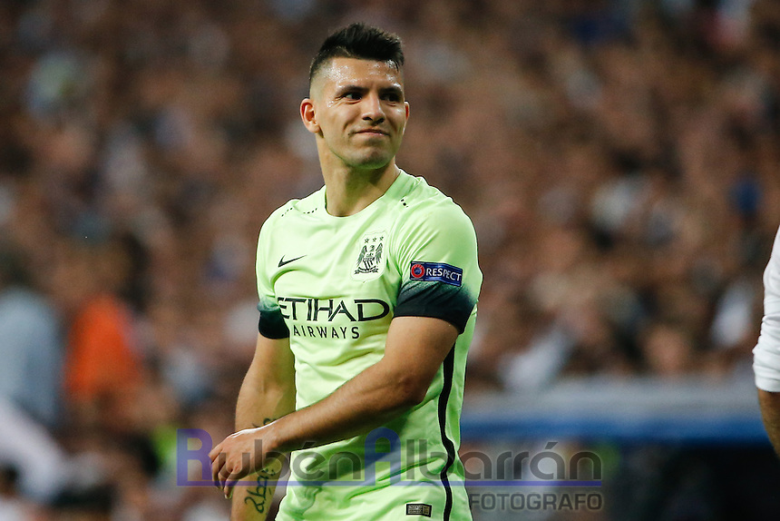 Manchester City&acute;s forward Sergio Aguero<br /> lamenting during the UEFA Champions League match between Real Madrid and Manchester City at the Santiago Bernabeu Stadium in Madrid, Wednesday, May 4, 2016.