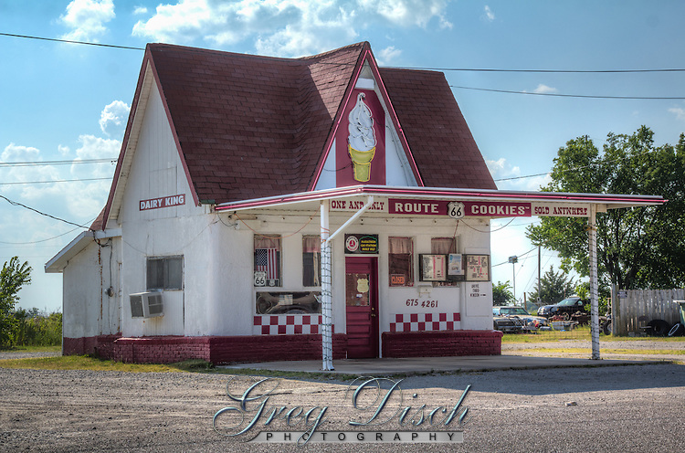 The Dairy King on Route 66 in Commerce Oklahoma was originally built in 1931 as a Marathon Gas Station.