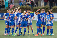 Allston, MA - Sunday, April 24, 2016: Boston Breakers player McCall Zerboni (77) talks with the team. The Boston Breakers play Seattle Reign during a regular season NSWL match at Harvard University.