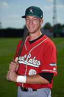 Great Lakes Loons outfielder Logan Landon (9) poses for a photo before a game against the Clinton LumberKings on August 16, 2015 at Ashford University Field in Clinton, Iowa.  Great Lakes defeated Clinton 3-2 in ten innings.  (Mike Janes/Four Seam Images)