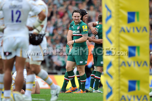 Ryan Lamb is all smiles after Leicester score a second try. Aviva Premiership match, between Leicester Tigers and Worcester Warriors on September 8, 2013 at Welford Road in Leicester, England. Photo by: Patrick Khachfe / JMP