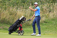 Robbie Cannon (Balbriggan) wins his match on the 16th green during the 1/4 Finals of the AIG Irish Close Championship at the European Club, Brittas Bay, Wicklow, Ireland on Monday 6th August 2018.<br /> Picture: Thos Caffrey / Golffile<br /> <br /> All photo usage must carry mandatory copyright credit (&copy; Golffile | Thos Caffrey)