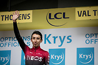 As the overall GC leader, Egan Bernal (COL/Ineos) who is 22yrs old, is obviously also awarded the white jersey / best young rider in this 2019 Tour de France<br /> <br /> shortened stage 20: Albertville to Val Thorens (59km in stead of the original 130km due to landslides/bad weather)<br /> 106th Tour de France 2019 (2.UWT)<br /> <br /> ©kramon