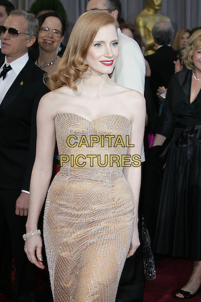 Jessica Chastain (wearing Armani Prive).85th Annual Academy Awards held at the Dolby Theatre at Hollywood & Highland Center, Hollywood, California, USA..February 24th, 2013.oscars half length blush strapless dress gown sweetheart neckline gold sparkly red lipstick .CAP/ADM.©AdMedia/Capital Pictures.