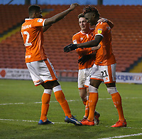 Blackpool's Armand Gnanduillet celebrates scoring the opening goal with team-mates Jordan Thompson and Michael Nottingham<br /> <br /> Photographer Stephen White/CameraSport<br /> <br /> The EFL Sky Bet League One - Blackpool v Burton Albion - Saturday 24th November 2018 - Bloomfield Road - Blackpool<br /> <br /> World Copyright © 2018 CameraSport. All rights reserved. 43 Linden Ave. Countesthorpe. Leicester. England. LE8 5PG - Tel: +44 (0) 116 277 4147 - admin@camerasport.com - www.camerasport.com