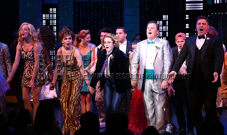 """Angie Schworer, Beth Leavel, Caitlin Kinnunen, Brooks Ashmanskas and Christopher Sieber during the Broadway Opening Night Curtain Call of """"The Prom"""" at The Longacre Theatre on November 15, 2018 in New York City."""