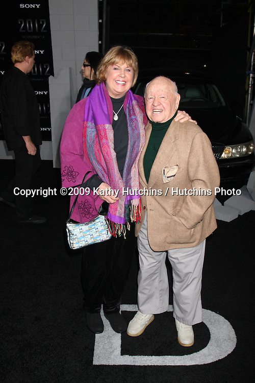 "Jan & Mickey Rooney.arriving at the ""2012"" Premiere.Regal 14 Theaters at LA Live.West Hollywood,  CA.November 3, 2009.©2009 Kathy Hutchins / Hutchins Photo."