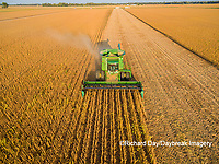 63801-09308 Soybean Harvest, John Deere combine harvesting soybeans - aerial - Marion Co. IL