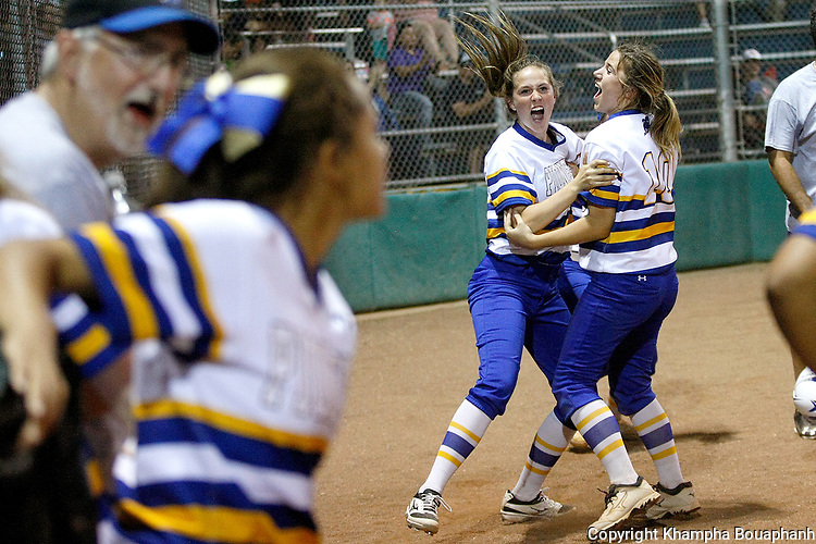 Boswell Taylor Teplicek scores the winning run in the 7th inning against Denton Ryan during a high school bi-district playoff game at Boswell on Friday, April 28, 2017. Boswell won 7-6 in game two.