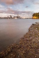 Auckland skyline at sunrise, Auckland, New Zealand North Island