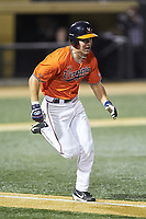 Jake McCarthy (31) of the Virginia Cavaliers hustles down the first base line against the Wake Forest Demon Deacons at David F. Couch Ballpark on May 18, 2018 in  Winston-Salem, North Carolina.  The Cavaliers defeated the Demon Deacons 15-3.  (Brian Westerholt/Four Seam Images)