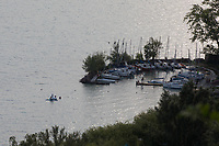 Sailing boats are seen moored at a dock on the shore of Lake Balaton at Balatonakarattya (about 90 km South-West of capital city Budapest), Hungary on July 14, 2018. ATTILA VOLGYI