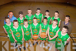 Colaiste na Sceilge's 2nd year basketball team who are through to the All Ireland semi-finals to be played at UL on the 10th May at 12noon, pictured here front l-r; Niall O'Connor, Stephen O'Connor, Cian O'Shea, Muirish Fitzgerald, Concubhair Guiney, P.J. Lyne, Back L-r; Jack Landers, John  Teehan(Trainer), Mathew O'Neill, Rokas Stanisauskas, Jim Lynch, Jack O'Sullivan, John Murphy & Shane O'Neill(Trainer).