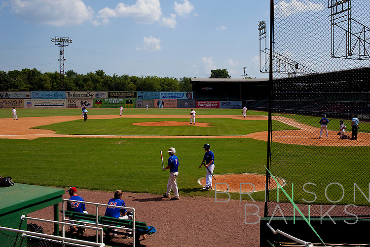 Rickwood Field in Birmingham, Alabama is touted as America's Oldest Baseball Park. It opened August 18, 1910 and celebrates its 100th anniversary this year. The Georgia Eagles, in blue, play the North Alabama Vipers.