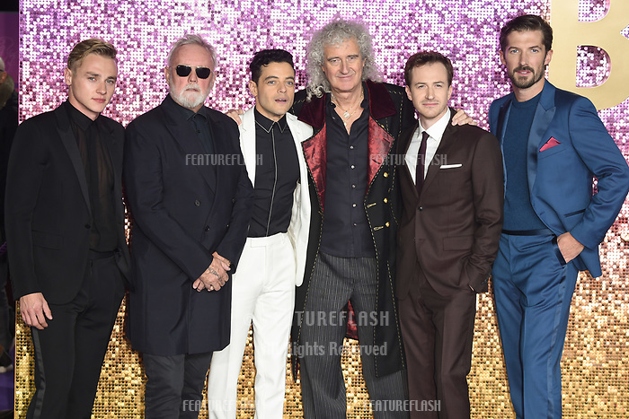 LONDON, UK. October 23, 2018: Ben Hardy, Roger Taylor, Rami Malek, Brian May, Joe Mazzello &amp; Gwilyn Lee at the world premiere of &quot;Bohemian Rhapsody&quot; at Wembley Arena, London.<br /> Picture: Steve Vas/Featureflash