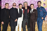 "LONDON, UK. October 23, 2018: Ben Hardy, Roger Taylor, Rami Malek, Brian May, Joe Mazzello & Gwilyn Lee at the world premiere of ""Bohemian Rhapsody"" at Wembley Arena, London.<br /> Picture: Steve Vas/Featureflash"