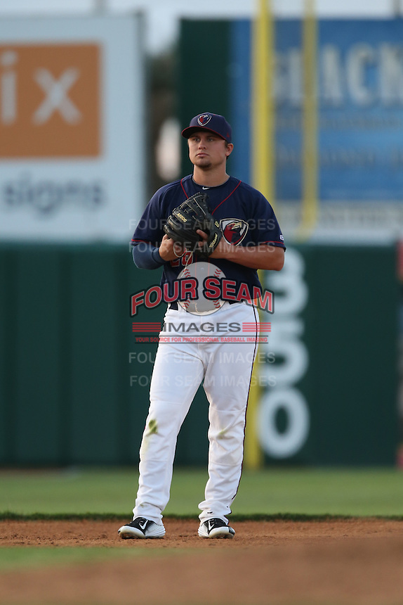 J.D. Davis (26) of the Lancaster JetHawks in the field at third base during a game against the Bakersfield Blaze at The Hanger on August 5, 2015 in Lancaster, California. Bakersfield defeated Lancaster, 12-5. (Larry Goren/Four Seam Images)