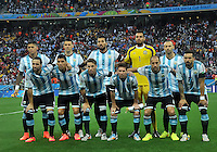 SAO PAULO - BRASIL -09-07-2014. Jugadores de Argentina (ARG) posan para una foto durante los actos protocolarios previo al partido de las semifinales contra Holanda (NED) por la Copa Mundial de la FIFA Brasil 2014 jugado en el estadio Arena de Sao Paulo./ Players of Argentina (ARG) pose to a photo during the formal events prior the match of the Semifinal against Netherlands (NED) for the 2014 FIFA World Cup Brazil played at Arena de Sao Paulo stadium. Photo: VizzorImage / Alfredo Gutiérrez / Contribuidor