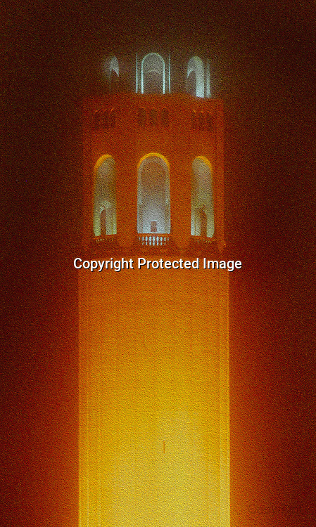 San Francisco Coit Tower in orange in honor of the San Francisco Giants World Series victory 2012.. .