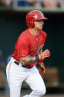 Harrisburg Senators outfielder Drew Vettleson (20) runs to first during a game against the New Hampshire Fisher Cats on July 21, 2015 at Metro Bank Park in Harrisburg, Pennsylvania.  New Hampshire defeated Harrisburg 7-1.  (Mike Janes/Four Seam Images)