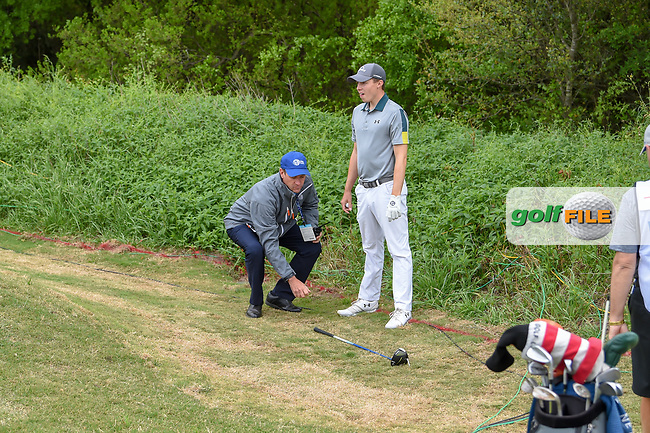 Matt Fitzpatrick (ENG) prepares to take a drop near the green on 1 during day 3 of the WGC Dell Match Play, at the Austin Country Club, Austin, Texas, USA. 3/29/2019.<br /> Picture: Golffile | Ken Murray<br /> <br /> <br /> All photo usage must carry mandatory copyright credit (© Golffile | Ken Murray)