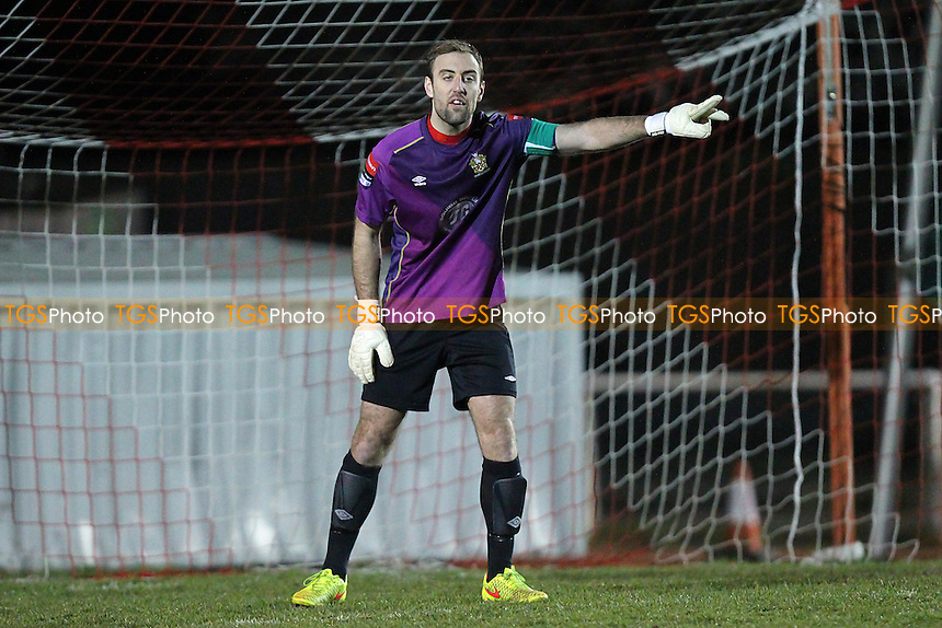 Elliot Styles in goal for Hornchurch after Sam Mott is sent off - AFC Hornchurch vs Canvey Island - Ryman League Premier Division Football at The Stadium, Upminster Bridge, Essex - 10/03/15 - MANDATORY CREDIT: Gavin Ellis/TGSPHOTO - Self billing applies where appropriate - 0845 094 6026 - contact@tgsphoto.co.uk - NO UNPAID USE