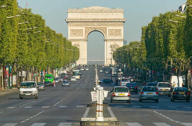 The Arc de Triomphe and avenue Champs-Élysées as viewed from the  Place de la Concorde