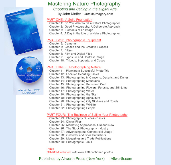 "Table of Contents.  ""Mastering Nature Photography"" covered wilderness travel and marketing your imagery, not just nature photography."