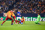 06.11.2018, VELTINS Arena, Gelsenkirchen, Deutschland, GER, UEFA Champions League, Gruppenphase, Gruppe D, FC Schalke 04 vs. Galatasaray Istanbul<br /> <br /> DFL REGULATIONS PROHIBIT ANY USE OF PHOTOGRAPHS AS IMAGE SEQUENCES AND/OR QUASI-VIDEO.<br /> <br /> im Bild Torchance / Torschuss Amine Harit (#25 Schalke) gegen Fernando Muslera (#1 Istanbul)<br /> <br /> Foto &copy; nordphoto / Kurth