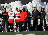 Maryland head coach Cathy Reese watches her team from the sidelines at the practice turf field in College Park, Maryland.  Maryland defeated Richmond, 17-7.