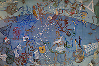 Painted ceiling with African Zodiac, in the steward's office, in the Residence Lucien Paye, designed by Jean Vernon, Bruno Philippe and Albert Laprade, 1883-1978, and inaugurated 1949, in the Cite Internationale Universitaire de Paris, in the 14th arrondissement of Paris, France. Originally the Overseas French Territories House, the building was later used to house students from Sub-Saharan African countries. Pierre Meauze sculpted the pillars at the entrance and Anna Quinquaud made the bas-reliefs on the facade. The CIUP or Cite U was founded in 1925 after the First World War by Andre Honnorat and Emile Deutsch de la Meurthe to create a place of cooperation and peace amongst students and researchers from around the world. It consists of 5,800 rooms in 40 residences, accepting another 12,000 student residents each year. Picture by Manuel Cohen. L'autorisation de reproduire cette œuvre doit etre demandee aupres de l'ADAGP/Permission to reproduce this work of art must be obtained from DACS.