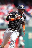 Miami Marlins third baseman Hanley Ramirez #2 runs the bases during a game against the Philadelphia Phillies at Citizens Bank Park on April 9, 2012 in Philadelphia, Pennsylvania.  Miami defeated Philadelphia 6-2.  (Mike Janes/Four Seam Images)