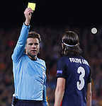 05.04.2016 Barcelona. Uefa Champions League Quarter-finals 1st leg. Game between FC Barcelona agaisnt Atletico de Madrid at Camp Nou. Picture show yellow card for Filipi Luis