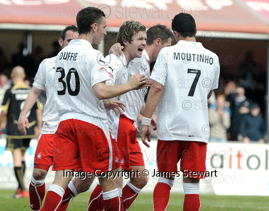 10/04/2010   Copyright  Pic : James Stewart.sct_jsp13_falkirk_v_st_mirren  .::  DARREN BARR CELEBRATES  WITH PEDRO MOUTINHO AFTER HE SCORES FALKIRK'S SECOND ::  .James Stewart Photography 19 Carronlea Drive, Falkirk. FK2 8DN      Vat Reg No. 607 6932 25.Telephone      : +44 (0)1324 570291 .Mobile              : +44 (0)7721 416997.E-mail  :  jim@jspa.co.uk.If you require further information then contact Jim Stewart on any of the numbers above.........
