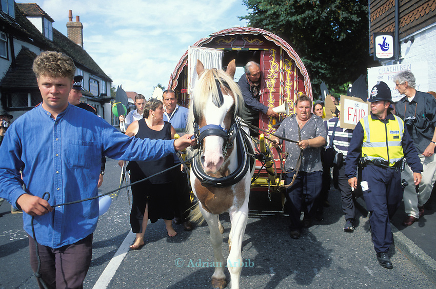 Romany gypsies at the Horsmonden horse fair in Kent.  On this occasion the police were preventing the Romanies from reaching the green in Horsmonden by creating an exclsion zone around the Kent village.<br />Romany and writer Jake Bowers Burbidge ( LHS) leads the horse.