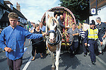 Romany gypsies at the Horsmonden horse fair in Kent.  On this occasion the police were preventing the Romanies from reaching the green in Horsmonden by creating an exclsion zone around the Kent village.<br />