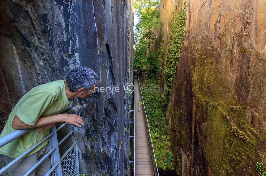 France, Corrèze (19), Donzenac, Travassac, site des Pans de Travassac, ancienne carrière d'ardoise // France, Correze, Donzenac, Travassac, Pans de Travassac, old slate quarry