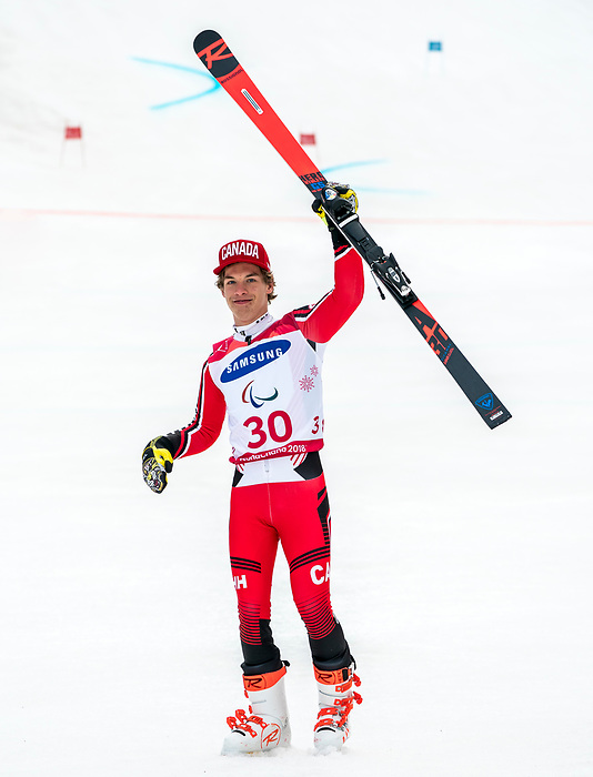 PyeongChang 14/3/2018 - Alexis Guimond skis to the bronze in the men's standing giant slalom at the Jeongseon Alpine Centre during the 2018 Winter Paralympic Games in Pyeongchang, Korea. Photo: Dave Holland/Canadian Paralympic Committee