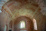 Medieval frescoes church of Saint Mary, Kempley, Gloucestershire, England, UK - Christ in Majesty chancel ceiling c1120