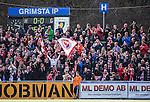 V&auml;llingby 2014-03-30 Fotboll Allsvenskan IF Brommapojkarna - Kalmar FF :  <br />  Kalmars supportrar p&aring; bortal&auml;ktaren p&aring; Grimsta IP <br /> (Foto: Kenta J&ouml;nsson) Nyckelord:  BP Brommapojkarna Grimsta Kalmar KFF supporter fans publik supporters